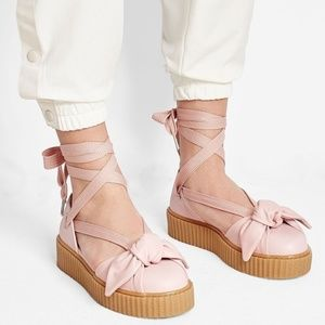 New Fenty by Rihanna Lace up Bow Creepers Pink